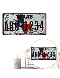 Nostalgic Gray Letter Texas Abc1234 Decorated Metal Painting Iron Household goods
