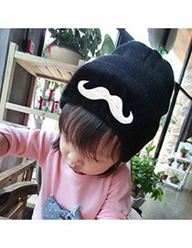 Lovely Black Moustache Pattern Decorated Pure Color Design
