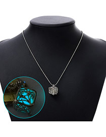 Personality Blue Hollow Out Square Pendant Decorated Noctilcent Design Alloy Korean Necklaces