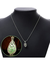Personality Green Hollow Out Waterdrop Shape Pendant Decorated Noctilcent Design Alloy Chains