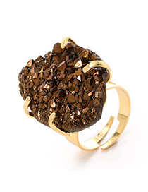 Personality Brown Irregular Stone Decorated Simple Design Alloy Fashion Rings