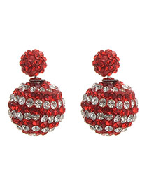 Exquisite Red+white Diamond Decorated Ball Shape Design  Alloy Stud Earrings