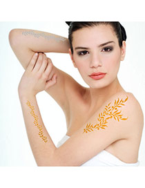 Personality Gold Color+silver Color Leaft Pattern Flash Sheet Temporary Hair Sticker  Paper Tattoos body Art