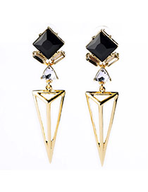 Exquisite Black Square Gemstone Decorated Hollow Out Triangle Design Alloy Stud Earrings