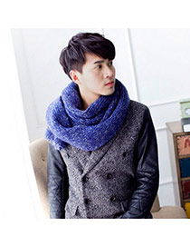 Fashion Blue Mixed Color Simple Design  Wool knitting Wool Scaves