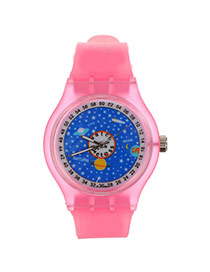 Fashion Pink Outer Space Pattern Decorated Round Shape Case Design