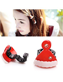 Cute Red Diamond Decorated Chirstmas Hat Shape Design  Plastic Festival Party Supplies