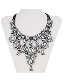 Retro White Waterdrop Shape Gemstone Decorated Multilayer Design Alloy Bib Necklaces