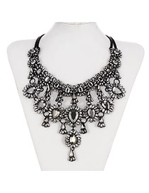 Retro Gun Black Waterdrop Shape Gemstone Decorated Multilayer Design Alloy Bib Necklaces