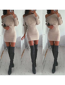 Casual Khaki Long Sleeve Oblique Shoulder Over Hip Slim Design  Cotton Long Dress