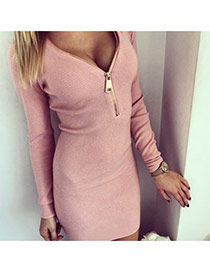 Sexy Pink Long Sleeve With Zip Decorated V Neck Over Hip Design  Cotton Long Dress