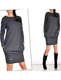 Casual Dark Gray Long Sleeve With Pocket Over Hip Design  Cotton Long Dress