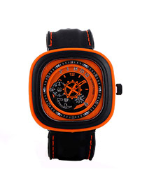 Casual Orange Second Disc Decorated Square Shape Design  Platic Men's Watches