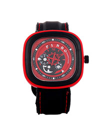 Casual Red Second Disc Decorated Square Shape Design  Platic Men's Watches