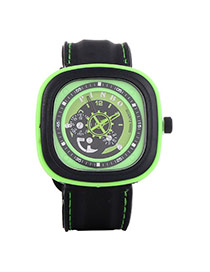 Casual Green Second Disc Decorated Square Shape Design  Platic Men's Watches