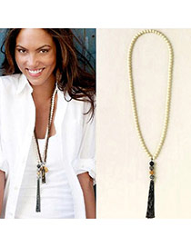 Fashion White Beads Decorated Tassel Design Alloy Beaded Necklaces