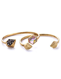 Personality Gold Color Geometry Shape Decorated Irregular Design Alloy