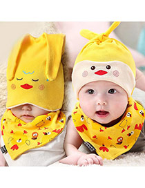 Lovely Yellow Ears Deocrated Cartoon Animal Pattern Design With Scarf Cotton Children's Hats