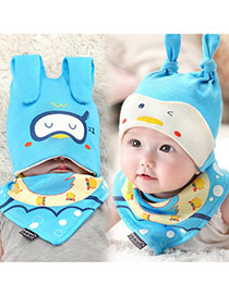 Lovely Blue Ears Deocrated Cartoon Animal Pattern Design With Scarf Cotton Children's Hats