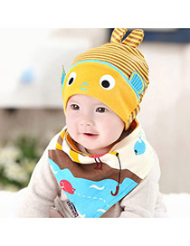 Lovely Khaki+yellow Stripe Pattern Decorated Catoon Fish Design With Scarf Cotton Children's Hats