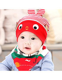 Lovely Red Stripe Pattern Decorated Catoon Fish Design With Scarf Cotton Children's Hats