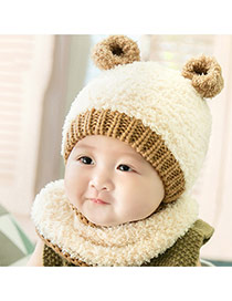 Lovely Beige Ears Decorated Color Matching Design With Scarf