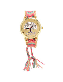 Simplicity Pink+green Tree Pattern Decorated Rope Weave Chain Design  Alloy Ladies Watches
