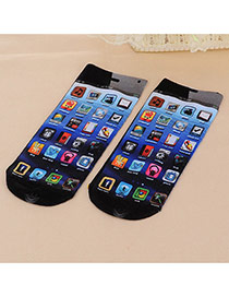 Retro Muticolor Cellphone Pattern Decorated 3d Effect Design  Spandex Fashion Socks