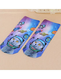 Retro Muticolor Cat Pattern Decorated 3d Effect Design  Spandex Fashion Socks
