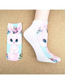 Retro Multicolor Rabbit Pattern Decorated 3d Effect Design  Spandex Fashion Socks
