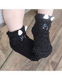 Lovely Black Cartoon Cat Pattern Decorated Simple Design For Kids  Coral Velvet Fashion Socks