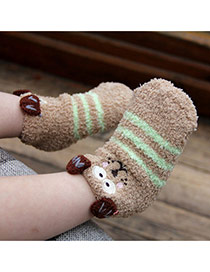 Lovely Light Brown Cartoon Mouse Pattern Decorated Simple Design For Kids  Coral Velvet Fashion Socks