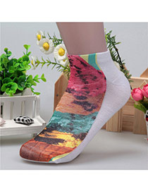 Retro Multicolor Ice-cream Pattern Decorated 3d Effect Design  Spandex Fashion Socks