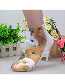 Retro White+brown Rabbit Pattern Decorated 3d Effect Design  Spandex Fashion Socks