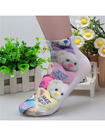 Retro White+brown Bear Pattern Decorated 3d Effect Design  Spandex Fashion Socks