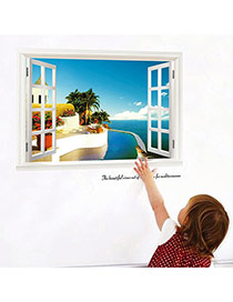 Creative Multicolor 3d Window View Removable Waterproof Design Wall Sticker