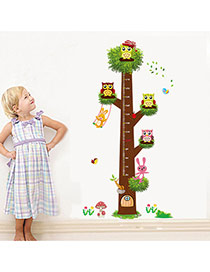 Creative Multicolor Owl&tree Pattern Height Ruler Wall Sticker  Pvc Household goods