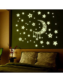 Creative Green Luminous Moon&stars Pattern Simple Design Wall Sticker