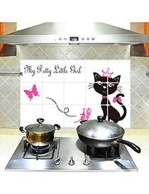 Creative Black+plum Red Cat Pattern Removable Anti-oil Paste Wall Sticker  Pvc Household goods