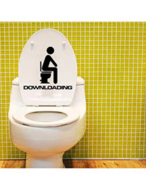 Creative Black Letter Pattern Decorated Simple Design Toilet Stickers  Pvc Household goods
