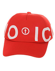 Cute Red Letter Emo Icon Decorated Pure Color Design  Canvas Children's Hats