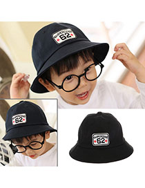 Cute Black Letter Embroideried Decorated Bucket Shape Design