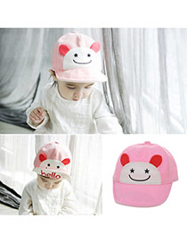 Cute Pink Cartoon Small Ears Decorated Pure Color Design  Canvas Children's Hats