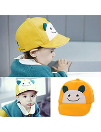 Cute Yellow Cartoon Small Ears Decorated Pure Color Design  Canvas Children's Hats