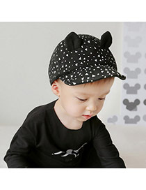 Cute Black Triangle Pattern&ears Decorated Pure Color Design