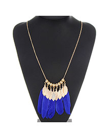 Retro Blue Tassel Feather&leaf Pendant Decorated Simple Design Alloy Chains