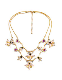 Cute Multi-color Flower Shape Pendant Decorated Double Layer Design Alloy Bib Necklaces