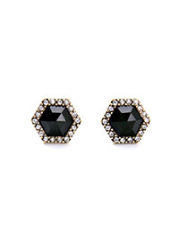 Luxury Black Diamond Decorated Rhombus Design Alloy