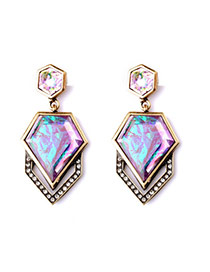 Luxury Multi-color Diamond Decorated Irregular Geometrical Shape Design Alloy