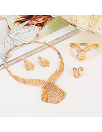 Luxury Gold Color Diamond Deocrated Hollow Out Collar Design(4pcs) Alloy Jewelry Sets
